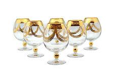 Exklusive handbemalte Murano Floral Cognacgläser 6 Stk. Gold Cognac Set versac