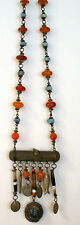 "Antique Bedouin Necklace w. Amber and Turquoise Beads/Charms Hang from Bar 34""+"