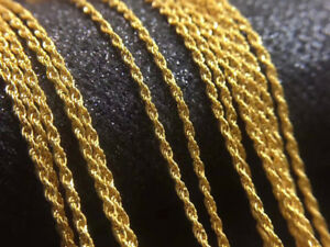 100% Pure 18K Yellow Gold Necklace Au750 Twisted Rope Chain 45CM 750C007-18