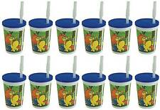 12 Reusable Dinosaur party cups with Lid and straw FUN PUZZLE find 10 bones