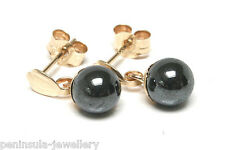 9ct Gold Hematite Ball Drop Earrings Gift Boxed Made in UK