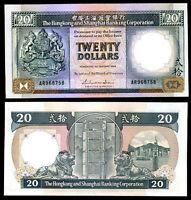 HONG KONG 20 DOLLARS 1988 P 192 UNC