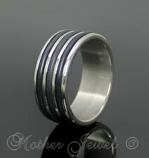 8MM STAINLESS STEEL TRIPLE BAND MENS WOMENS WEDDING ANNIVERSARY RING SIZE 8 P