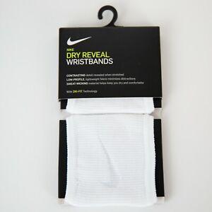 Nike Dry Reveal Wristbands Dri-Fit Technology White Pair Swoosh Logo Sweatbands