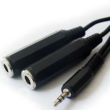 0.5m - 3.5mm Male Plug to 2x 6.35mm Mono Jack Socket Headphone Splitter Cable