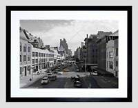 YELLOW CAB IN A SQUARE BLACK AND WHITE NEW YORK CITY FRAMED ART PRINT B12X9423