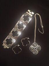 Celebrity Silver Jewelry Set Heidi Clover Design Klum Earrings Bracelet Necklace