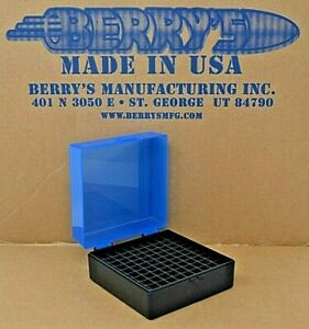 .223 / 556  ammo case / box 100 round (BLUE / BLACK) 222 223 556 Berry's mfg