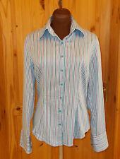 HAWES & CURTIS blue purple striped long sleeve blouse shirt top HIPSTER 12 40