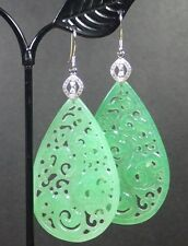 925 Sterling Silver Jade Earrings Dangle Lotus Flower Ruyi 如意花 Teardrop 291347