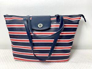 TOMMY HILFIGER XL Handbag Purse Shoulder Bag Tote Red White Blue  $99