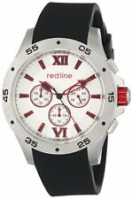 RED LINE Men's RL-60028 Chronograph Silver Dial Black Silicone Watch New Battery