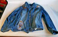 Parish Nation Champions Mens Denim Jacket Size 6XL Blue 6-Button Jean Coat
