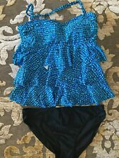 Island Escape, 2 pc Swimsuit, Black/Blue Multi, Size 14, New with Tags