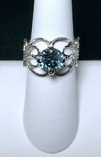 Crystal Ring Adjustable Size 4 - 9 Silver Plate Blue Fashion Made With Swarovski