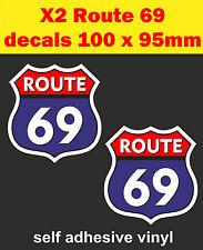 2 Adesivi Divertenti ROUTE 66/69 Decalcomania Bisaccia Bici Auto Mini carrello SCOOTER VW