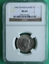 1942 Silver New Zealand 1 One Shilling Coin MS 64 NGC