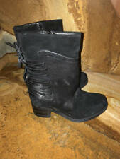 New~Miz Mooz Leather Suede Mid Calf Lace Up Boots~Black~Sakinah~36~5.5 - 6