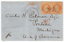 France cover 1869 Nice to Pontiac (USA)