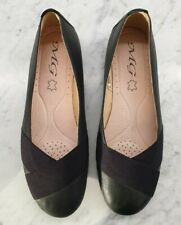Ladies MG Comfort Flat Shoes Black Leather size 10
