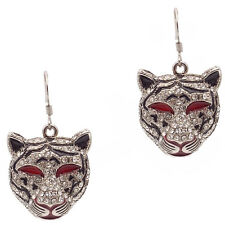Tiger Dangle Pair Hook Earring Jewelry Rhinestone Clear Enamel Red Black Silver