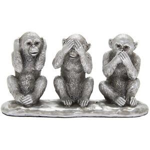 Silver 3 Wise Monkeys Ornament Hear Speak See No Evil Figurine Home Decor