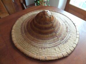 ancien chapeau tressé asie indochine chine