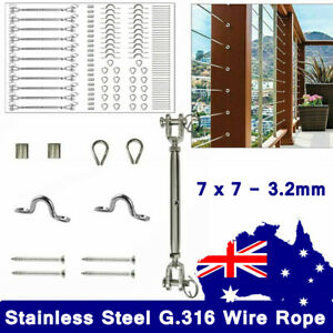 316 Stainless Steel Turnbuckle Balustrade Kit Wire Rope Balustrade DIY 3.2mm 7x7