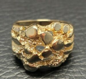 Gorgeous 14K GOLD Estate Men's 14K Size 8 YELLOW GOLD NUGGET Ring