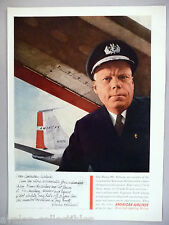 American Airlines PRINT AD - 1960 ~~ airplane pilot, Harry Hillard letter