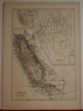 CALIFORNIA NEVADA UNITED STATES SECOND HALF 19TH CENTURY ANONYMOUS ANTIQUE MAP