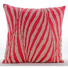 "Coral Pink Handmade Euro Pillow Sham 26""x26"", Cotton Linen Pearl - Pearl Shower"