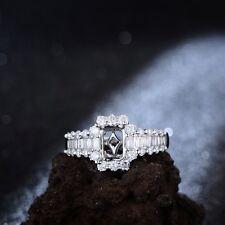 Emerald 4x6mm 18K white gold 0.72ct Baguette Diamonds Semi Mount Ring Gift