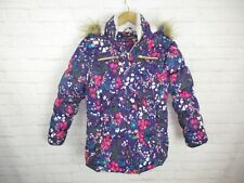Steve Madden women's size L 14-16 Purple Floral Faux Fur Hood Insulated Coat