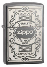 "Zippo Lighter! ""Quality Zippo"". No 29425.  Stunning Black Ice Finish!  BNIB!"