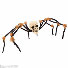 Large Scary Skull Skeleton Hairy Spider Bendable Halloween Decoration Party Prop