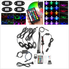 4xUniversal RGB LED Under Body Light Rock Lamp Off-Road Truck Remote Control 12V