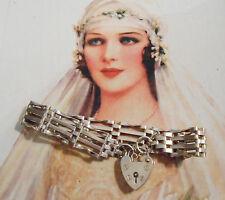 Superbe bracelet ancien Art Déco breloque cadenas argent massif (15,6 gr)