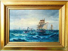 Vilhelm Bille (1864-1908) Antike Ölgemälde Schiffe auf Meer Maritimer Kunst 1890