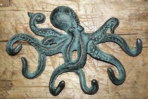 Heavy Cast Iron Octopus Towel Hanger Coat Hooks Hat Hook, Key Rack Nautical HUGE