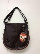 Chala Hobo Crossbody Purse Convertible Shoulder Bag Brown Fox Charm New