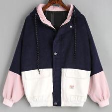 Women Long Sleeve Corduroy Patchwork Oversize Jacket Windbreaker Overcoat A UK