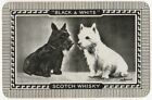 Playing Cards 1 Swap Card Old Vintage BLACK & WHITE Whisky WESTIE + SCOTTIE Dog