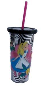 disney store drinks tumbler and straw alice in wonderland cup beaker lid new