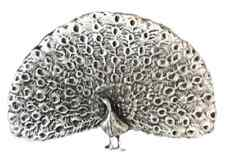 Peacock Brooch Handcrafted From English Pewter (BR1373)