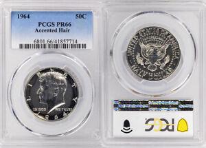 1964 PCGS PR66 ACCENTED HAIR SILVER KENNEDY HALF DOLLAR 50 COIN ! HIGH GRADE !