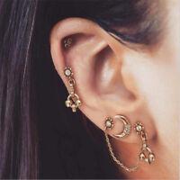 Bohemian Gold Plated Earrings Ear Clip Crystal Moon Women Stud Jewelry 4Pcs/Set