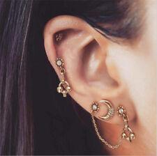 4Pcs/Set Bohemian Gold Plated Earrings Ear Clip Crystal Moon Women Stud Jewelry