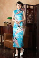 Chinese Summer Cheongsam Women Silk Satin Long Dress Ball Gown S-2XL