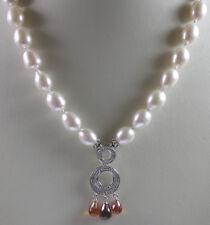 Statement Pearl & Quartz Necklace & Earring Set Sterling Bridal Wedding